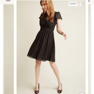 Modcloth Black Surplice A-Line Dress sz Small NWOT